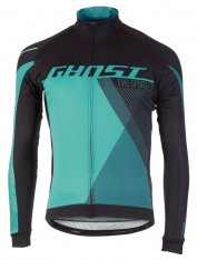 GHOST Performance Evo Jersey Long - Night Black / Electric Blue / Reef Blue